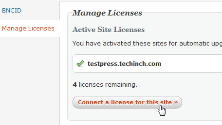 WPTouch Connect a license