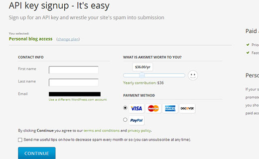 Akismet signup and payment page