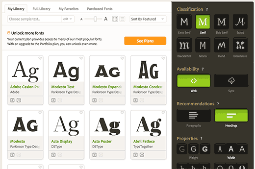 Choosing a font from Typekit library