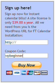 Enter your FT Calendar coupon code here