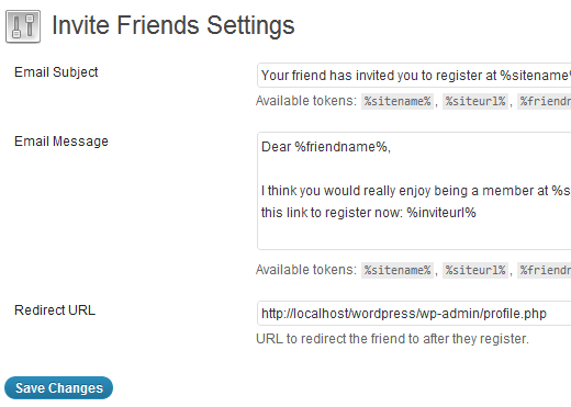 Invite Friends Settings