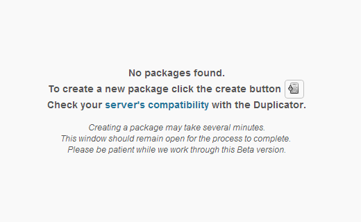 Click to create a duplicator package of your WordPress website