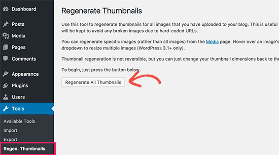 Renerate all thumbnails in WordPress