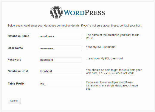 Providing database information during WordPress installation