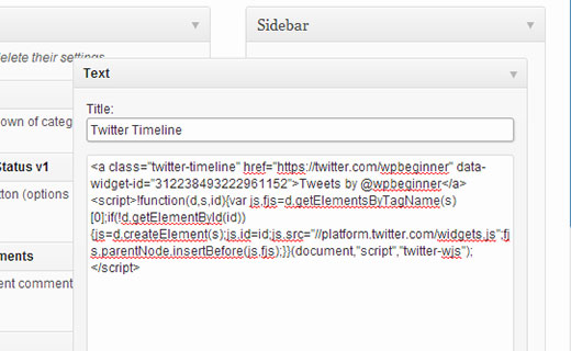 Adding Twitter widget code in a WordPress sidebar widget