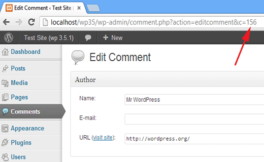 how to find comment ID in WordPress