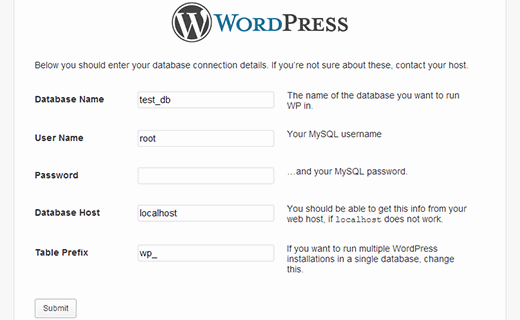Provide your database information to install WordPress on localhost with WAMP