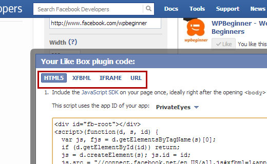 Facebook like box is available in multiple code formats
