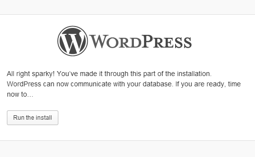 Run WordPress Installation Script