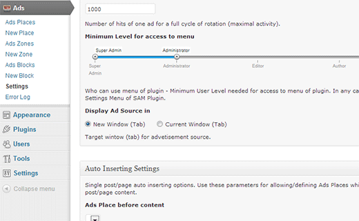 Simple Ads Manager plugin settings page