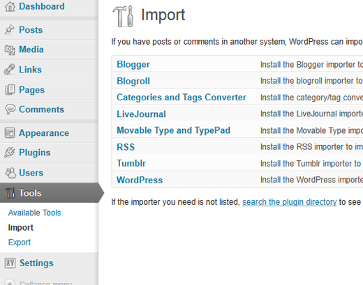 Import Tools Screen