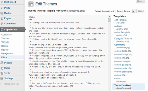 Theme editor in WordPress