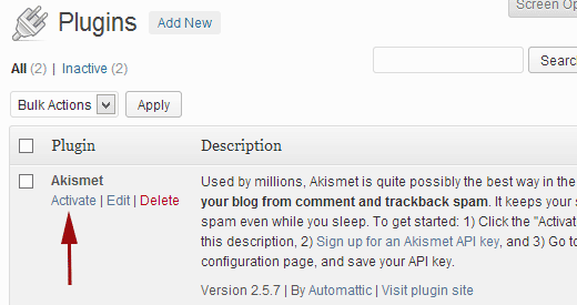 Activate Akismet in WordPress