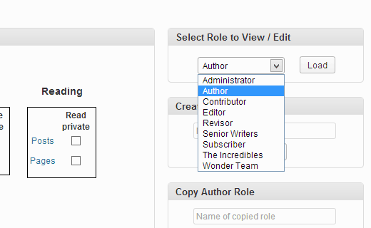 Select and load a role you want to edit