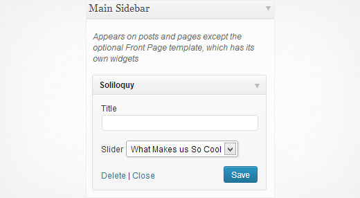 Soliloquy widget allows you to add sliders in sidebar