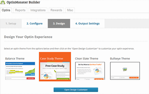 Choose an optin design to customize in WordPress using OptinMonster customizer