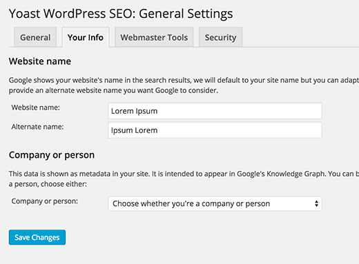 Your site's SEO information
