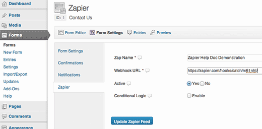 Paste the Zapier Webhook in your Form Settings