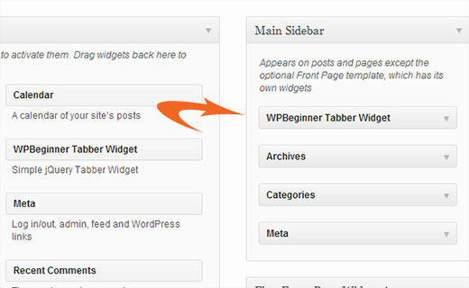 Drag and drop WPBeginner Tabber Widget into your Sidebar