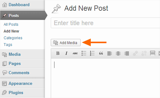 Uploading images in WordPress while editing a post or page