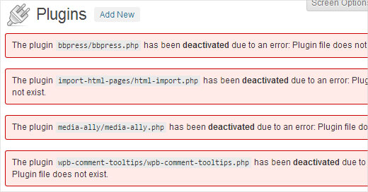 Plugins deactivated in WordPress