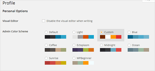 Custom color scheme among default WordPress admin color schemes