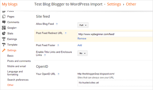 Redirect blogger feed readers to your WordPress feed