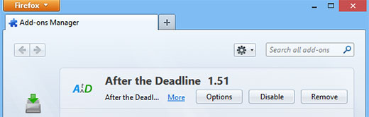 After The Deadline settings in Firefox