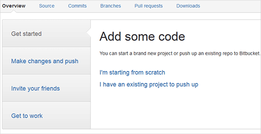 BitBucket new blank repository