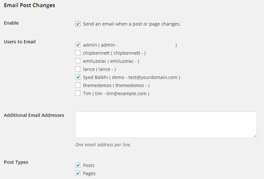 Configuring email post changes settings