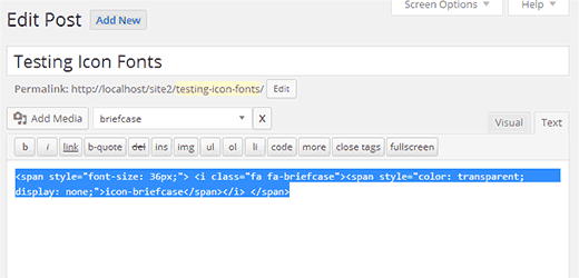 Copy icon fonts HTML to use in your theme files