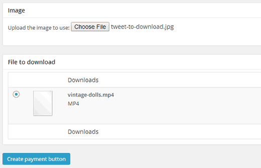 Adding a tweet button and selecting file download  - pwt newbutton2 - Add Pay With a Tweet Button for File Downloads in WordPress
