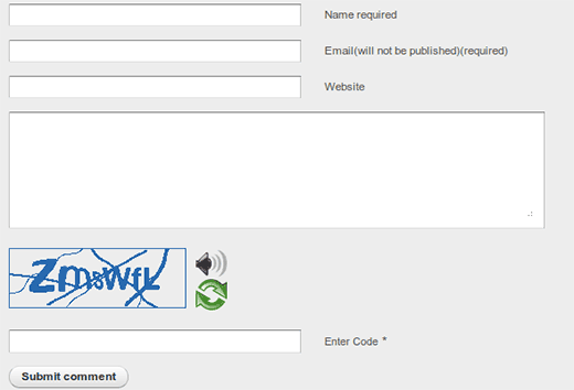 Captcha generated by Securimage-WP with audio and refresh buttons