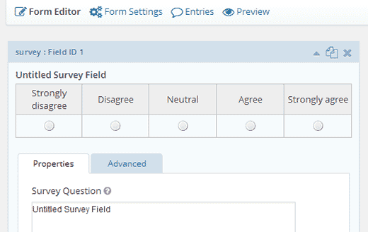 Editing a survey field in Gravity Forms