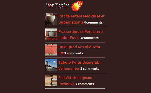 Most commented posts widget in WordPress sidebar