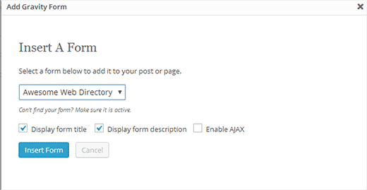 Adding form to link submission page