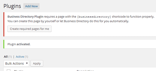 Post install notification - create page with business directory shortcode