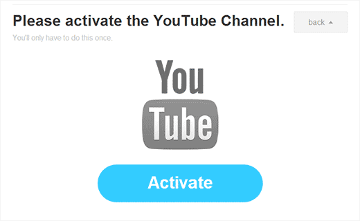 Activate YouTube Channel to continue