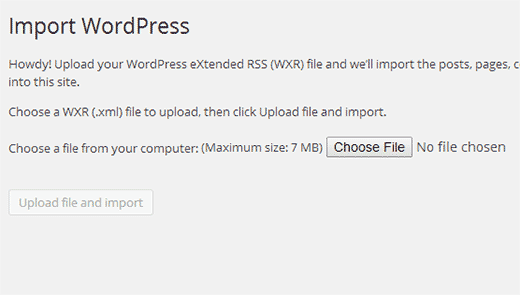 Uploadd WordPress export file you downloaded earlier