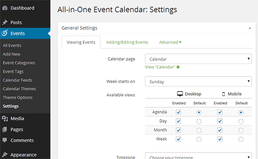 Settings screen on All in One Event Calendar plugin for WordPress