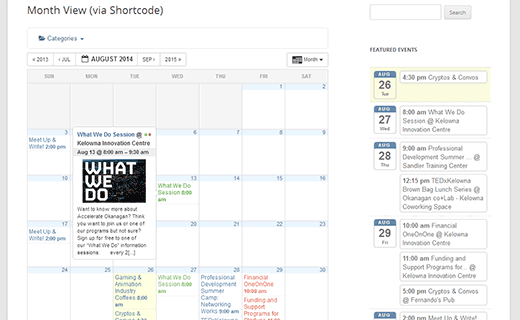 Monthly calendar view in All in One Event Calendar plugin for WordPress