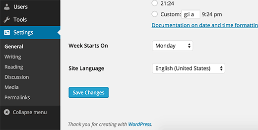 Installing and changing language in WordPress settings
