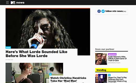 MTV News 40+ Notable WordPress Websites - mtvnews