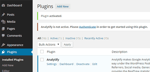 Authenticate Analytify with your Google Analytics account