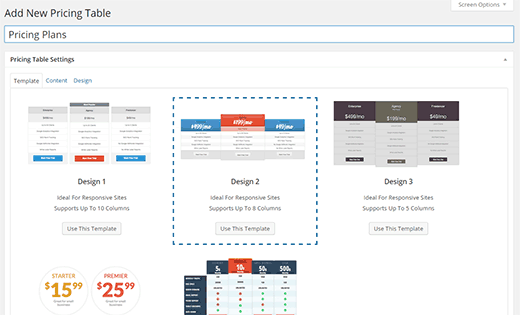 Choose a template for your pricing table