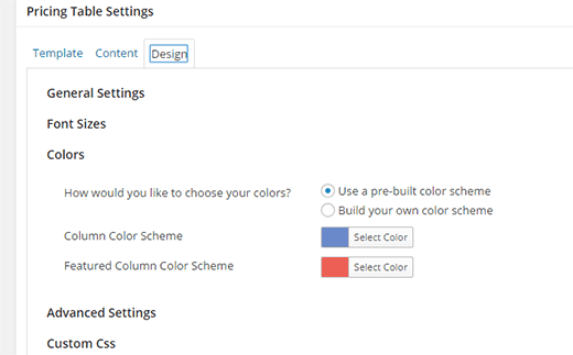 Tweaking the design of your pricing table