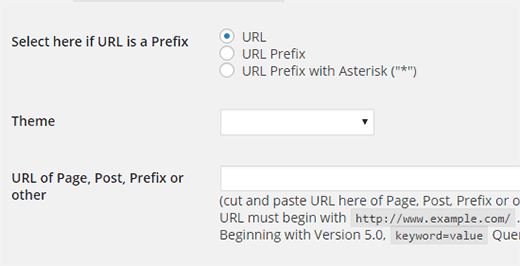 Define theme based on URL or Prefix