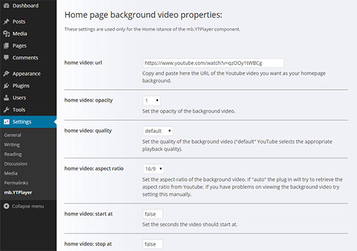 YouTube background video settings