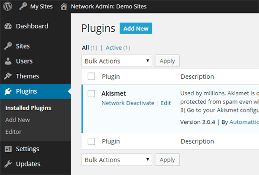 Adding a new plugin in WordPress multisite