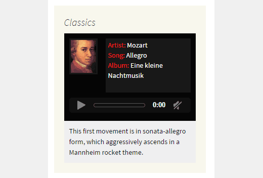 Preview of a simple music widget in sidebar